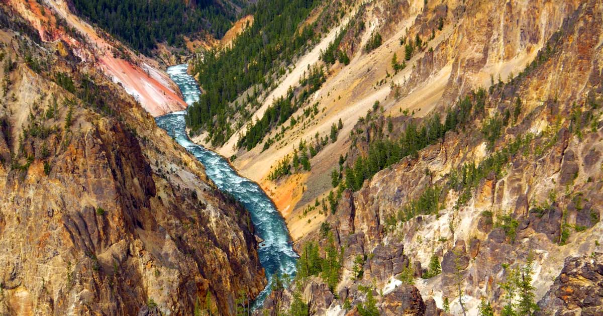 Views of the river from the Point Sublime hiking trail in Yellowstone.