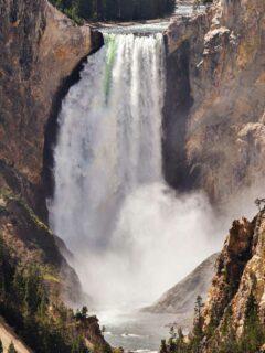 Waterfall views in Yellowstone National park.