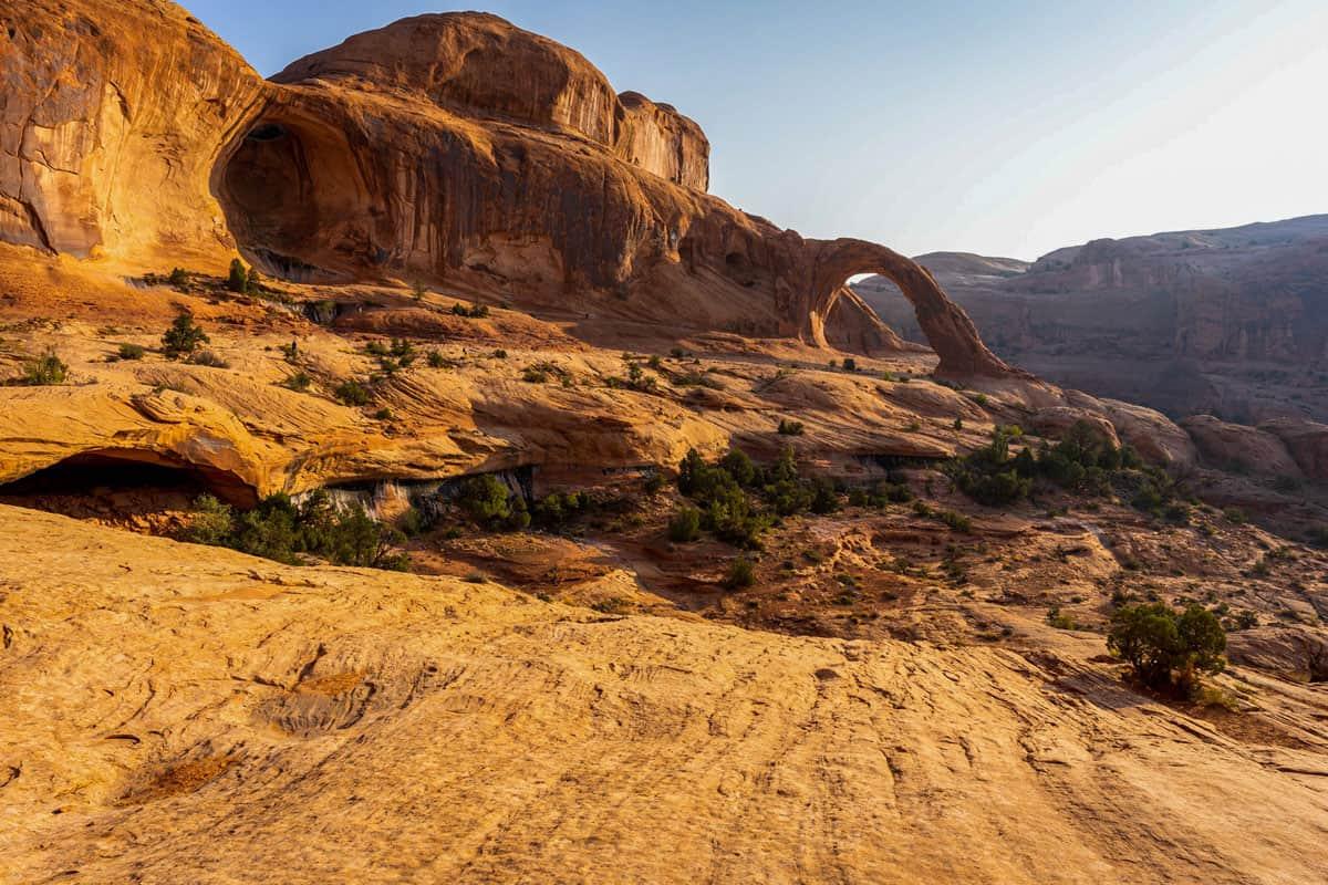 Red rock arch landscape in Moab Utah.