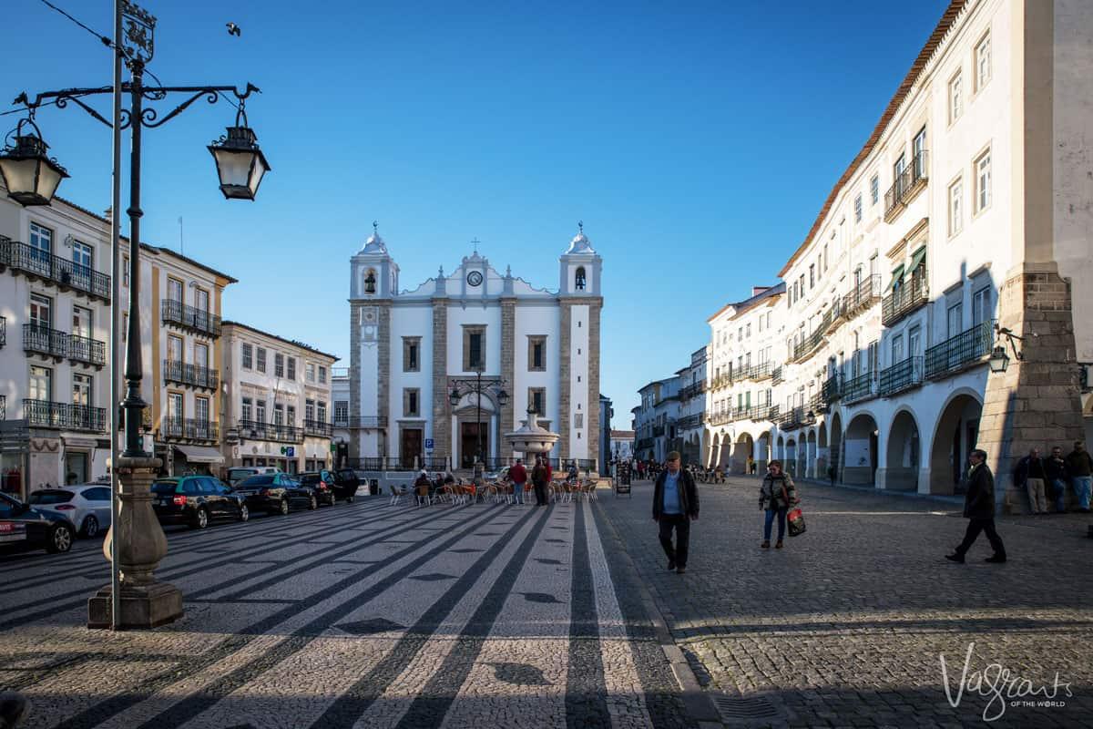 The main square in Evora Portugal.