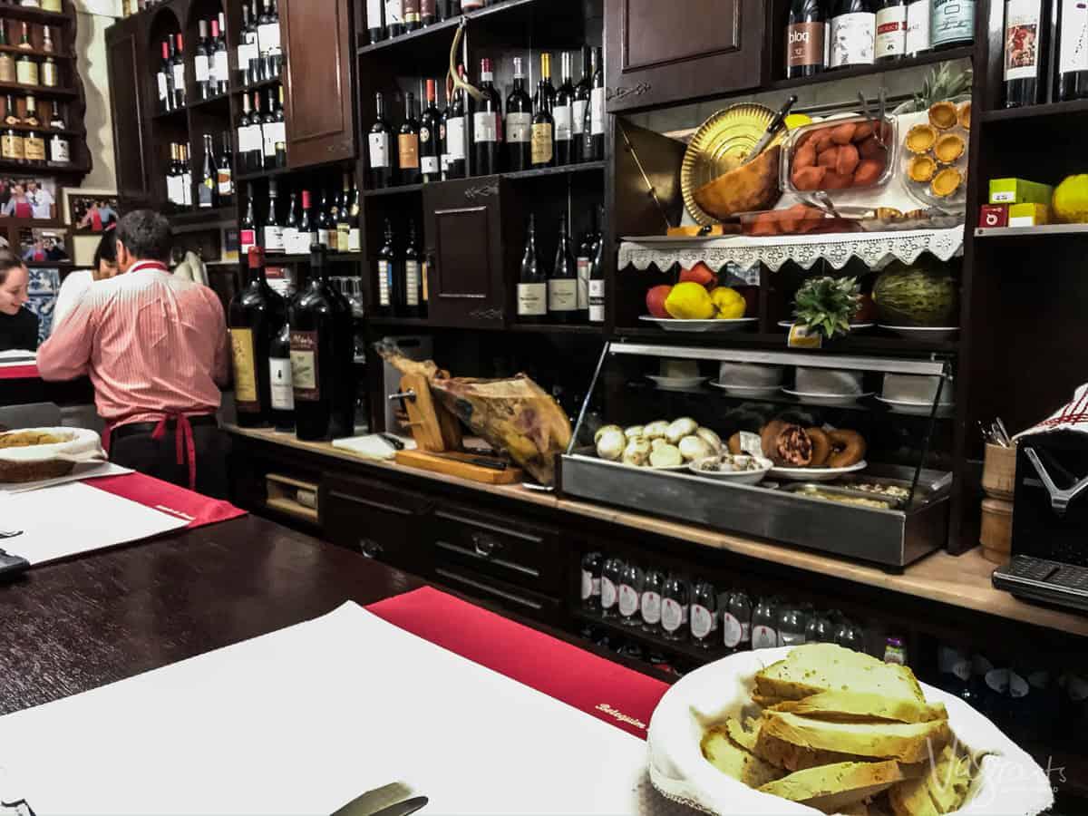 Small typical Portuguese restaurant in Evora.