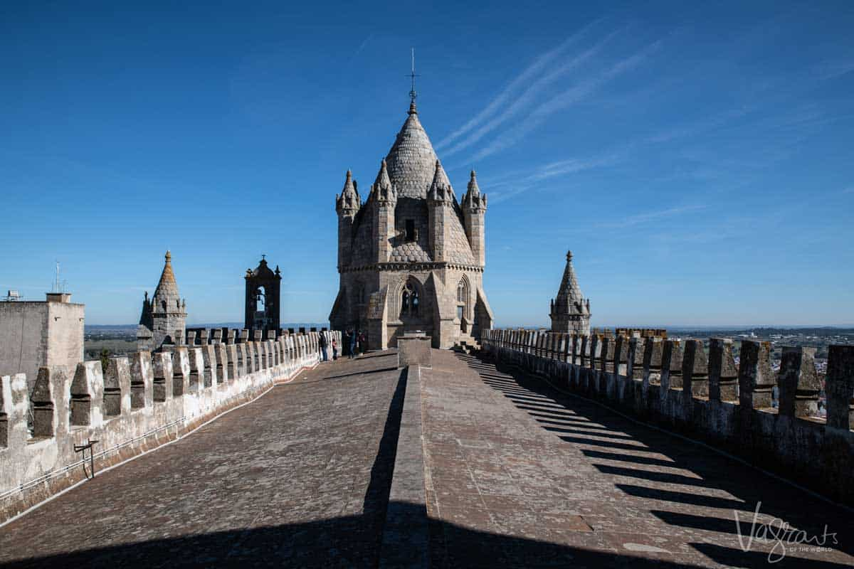 On top of the Cathedral in Evora Portugal.