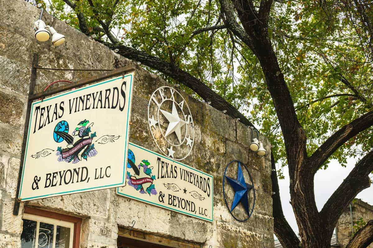 Vineyard signs in Fredericksburg Texas.