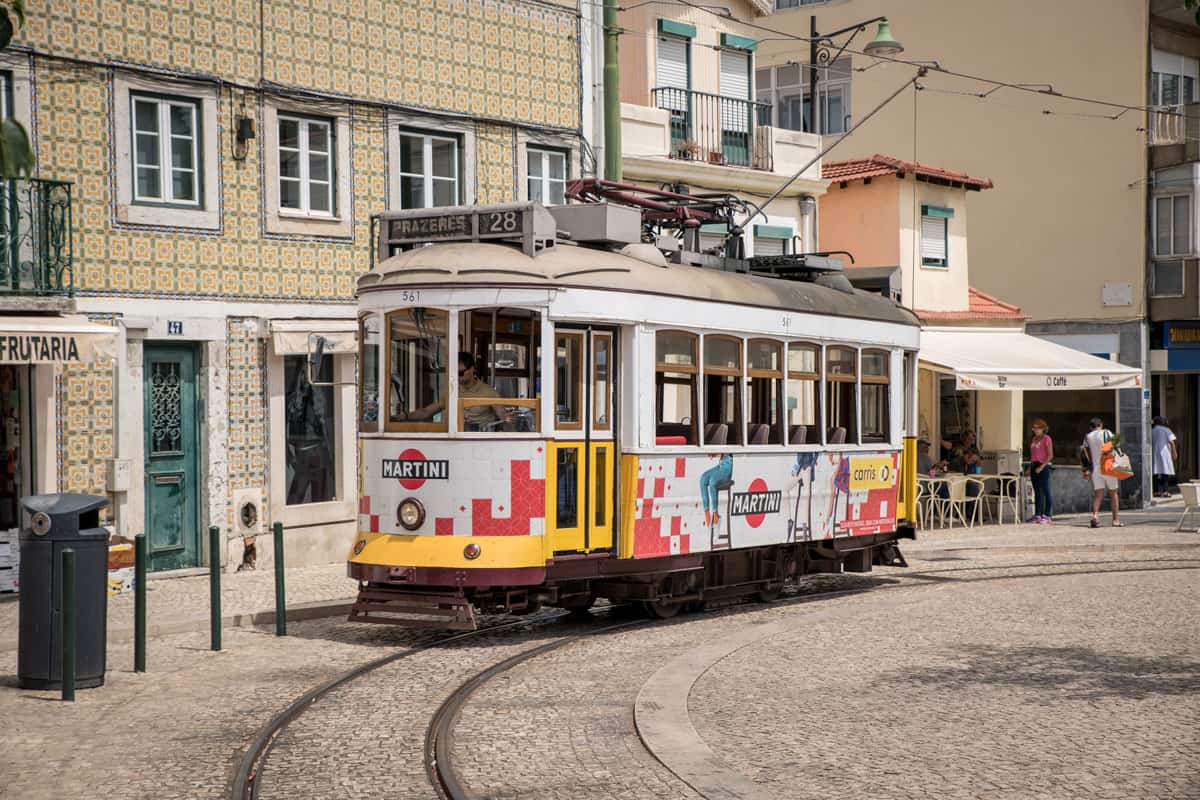 The famous number 28 Yellow tram in Lisbon.