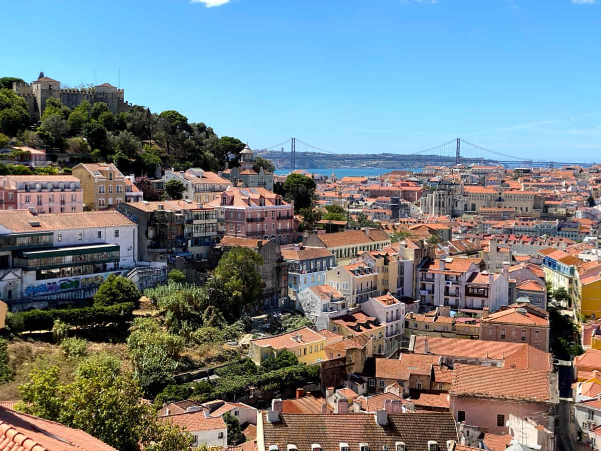 Looking over Lisbon and the Tagus from a viewpoint.