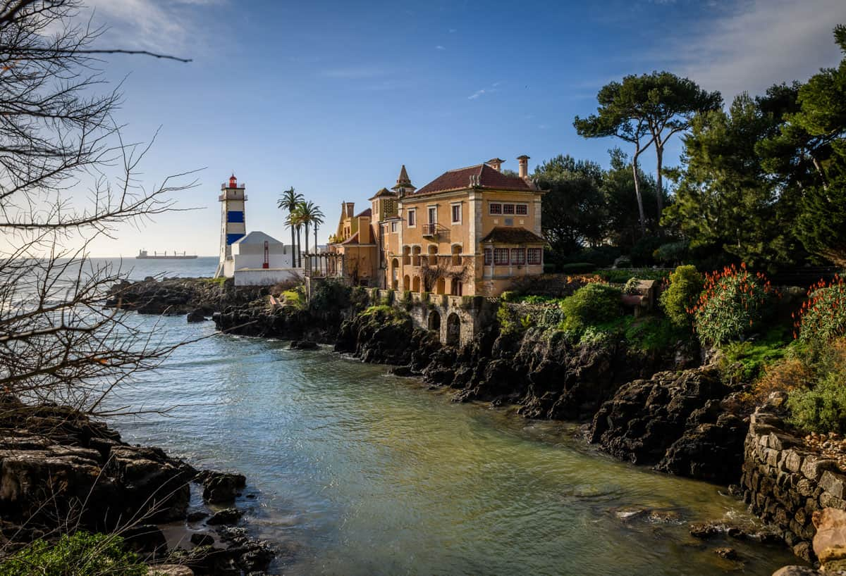 Historic building along the coast of Cascais in Portugal.