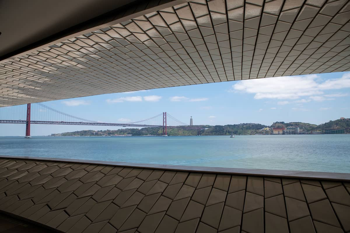 Looking from the MAAT museum to the 25 April bridge in Lisbon.