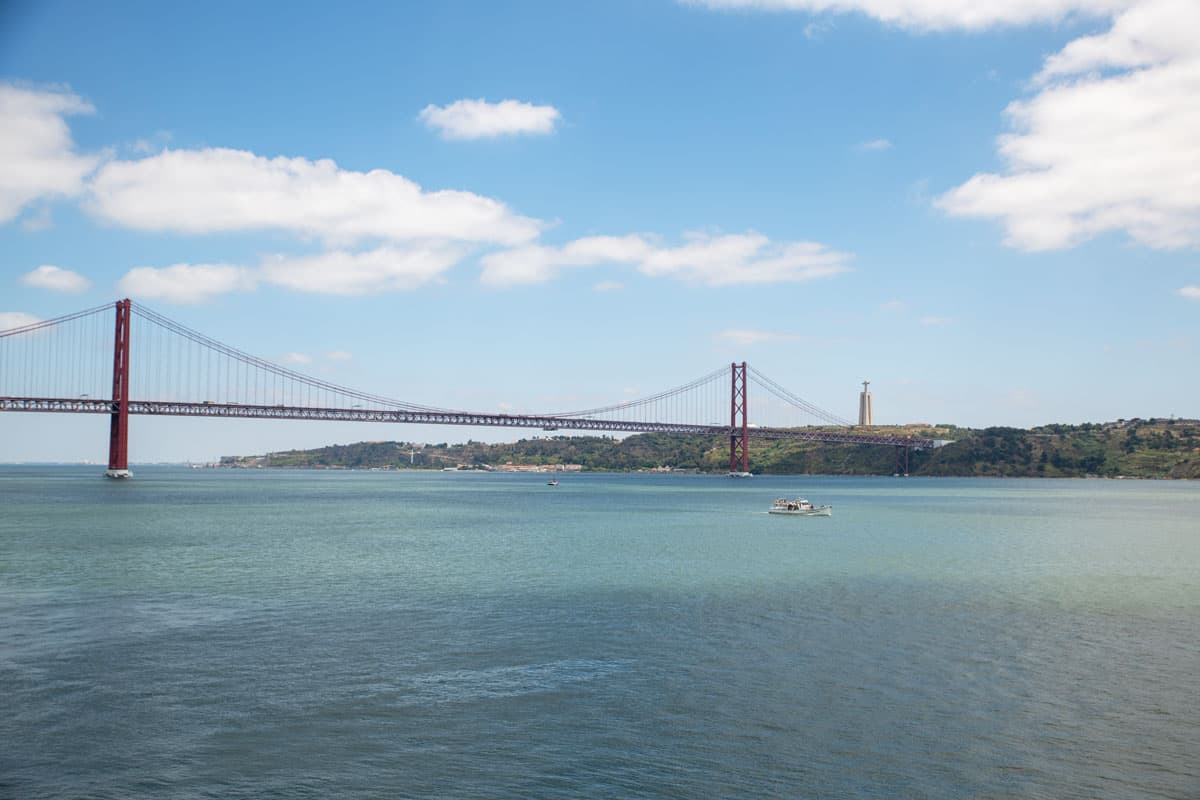 Looking over the Tagus river to the 25 April bridge in Lisbon.