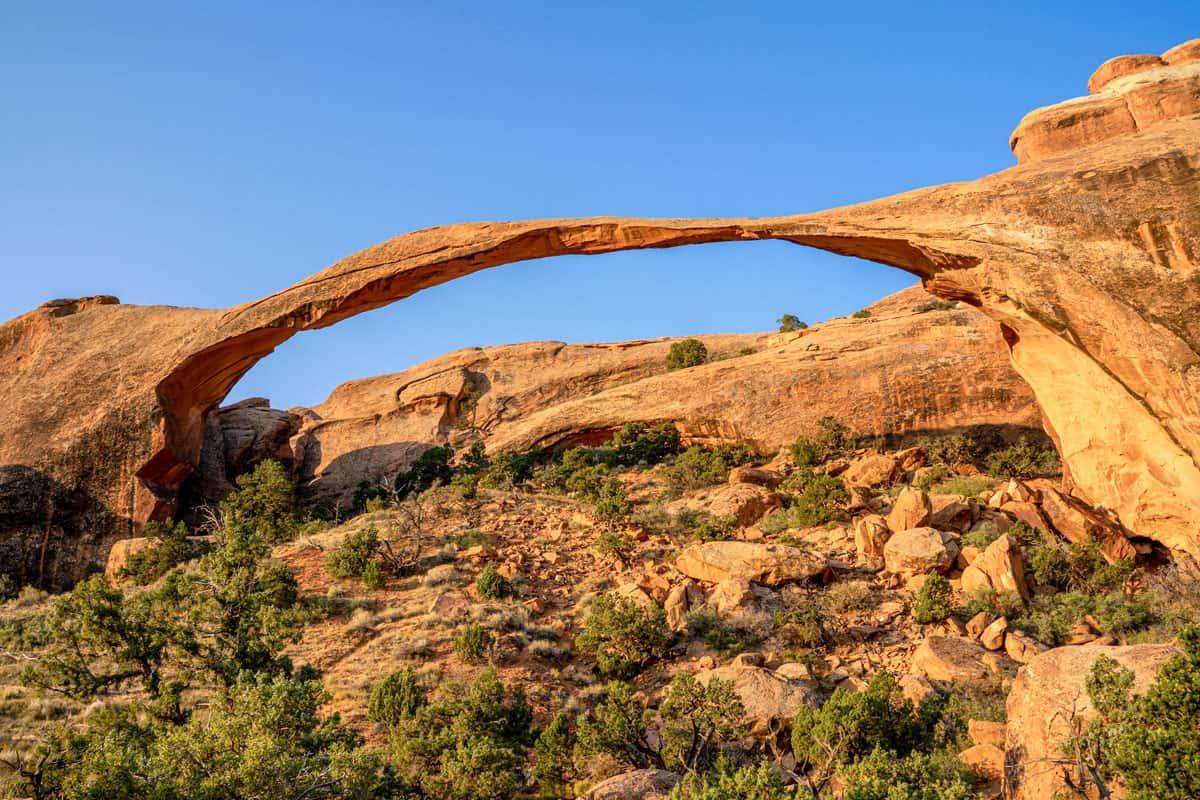 Narrow arch of rock in Moab Utah.