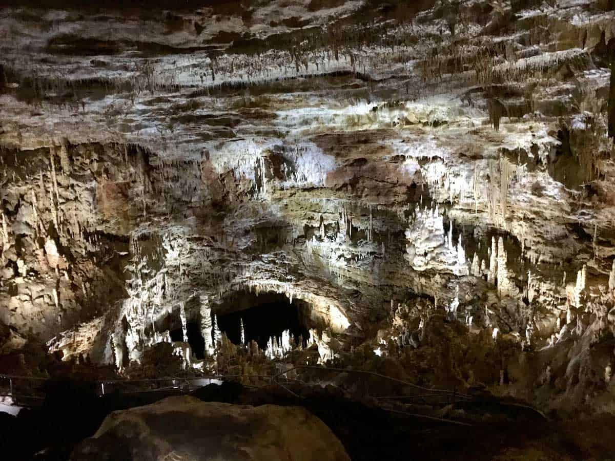 Inside the natural bridge caverns in Texas.