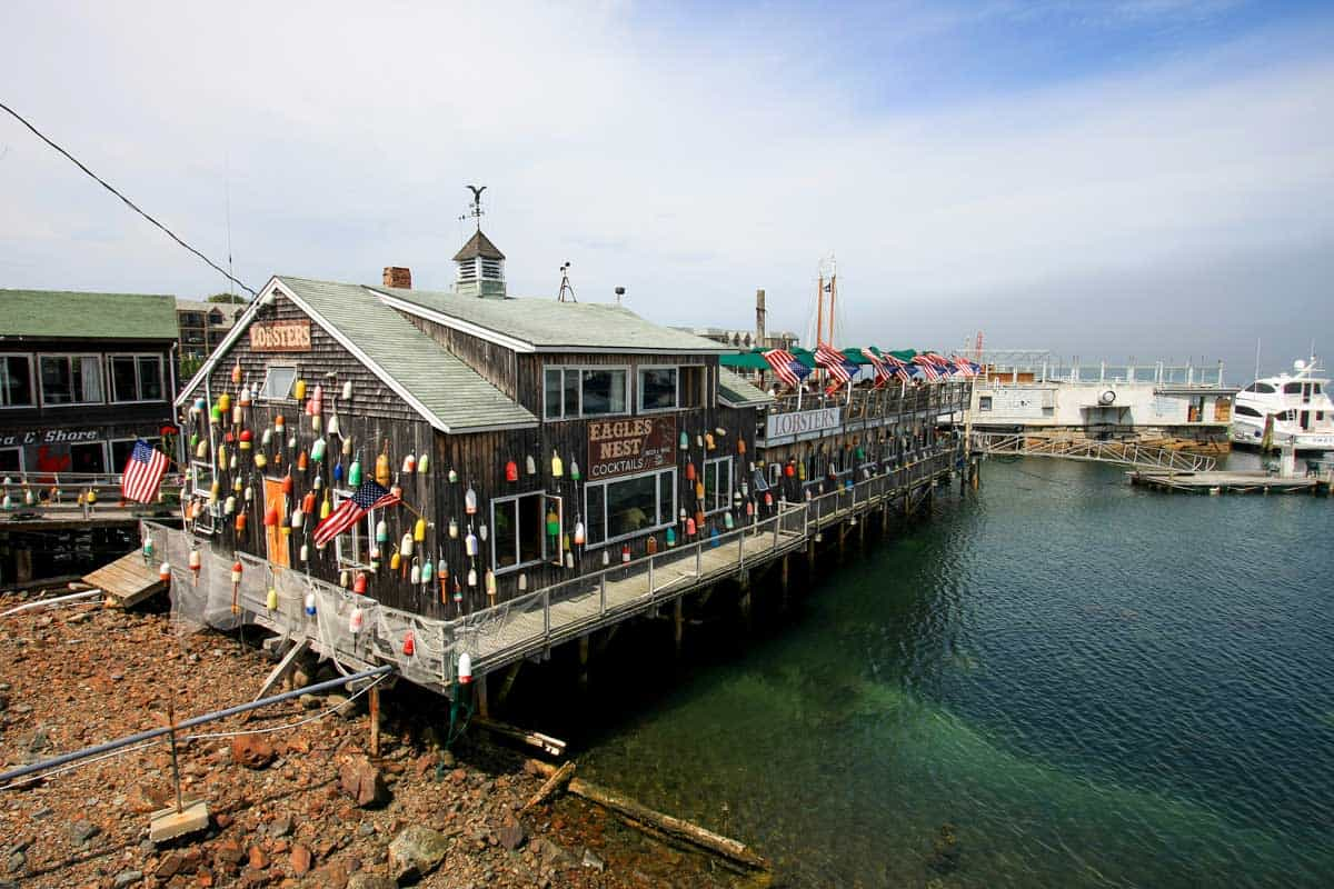 Lobster restaurant on a fishing wharf in Bar Harbor Maine.
