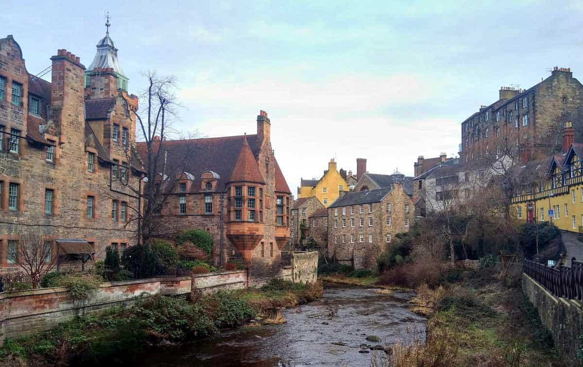 The old town of Dean Village in Edinburgh.