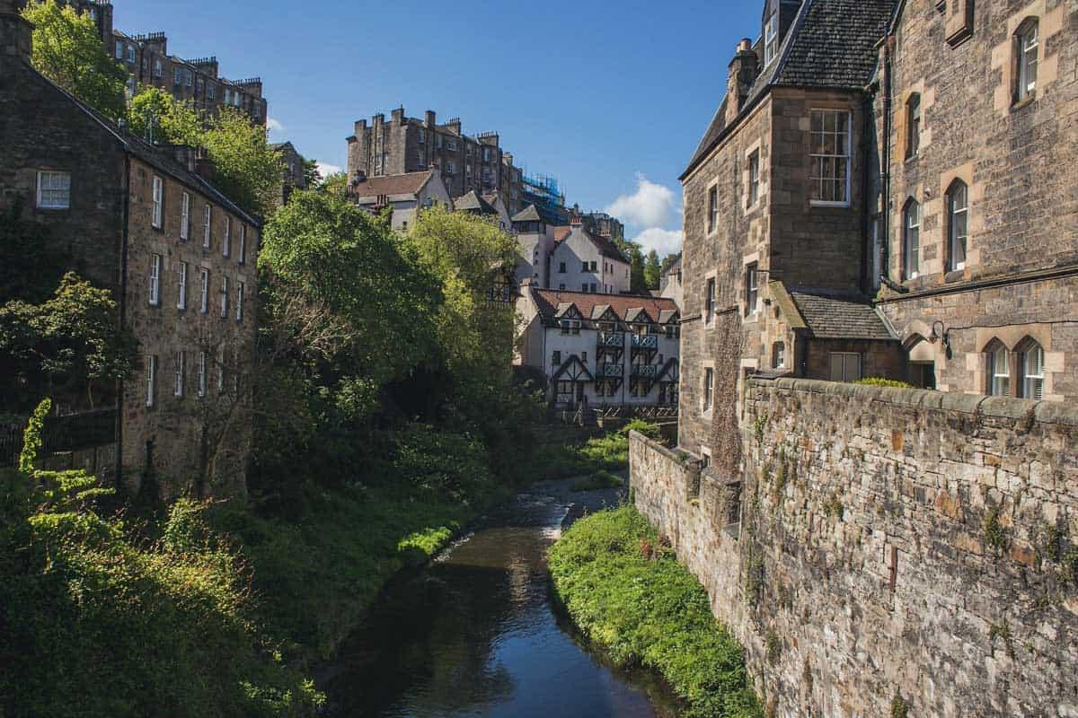 The quaint architecture of Dean Village in Edinburgh