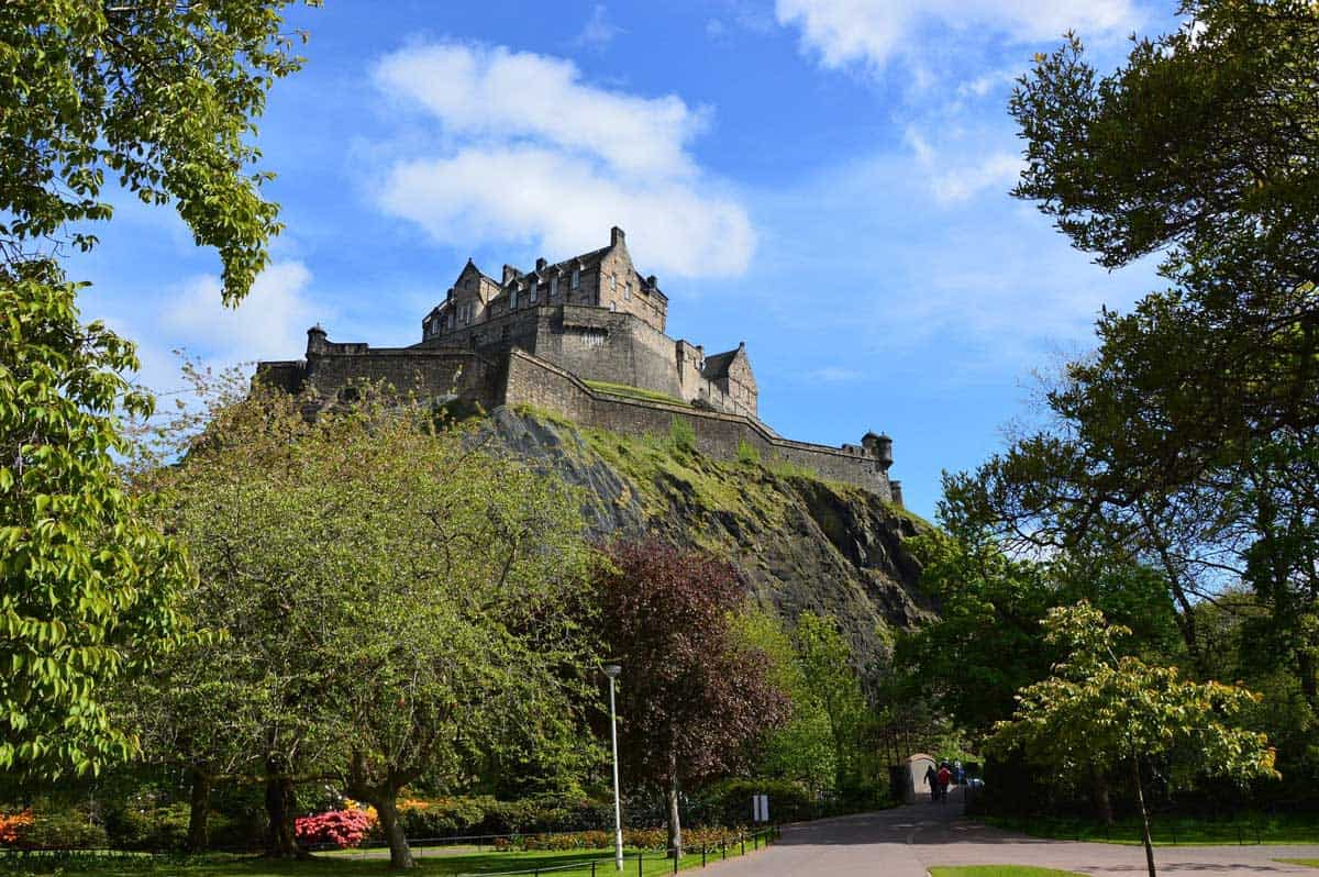 Edinburgh Castle on top of the hill on a sunny day.