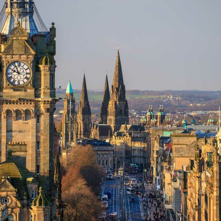 Looking down the main street of Edinburgh from above.
