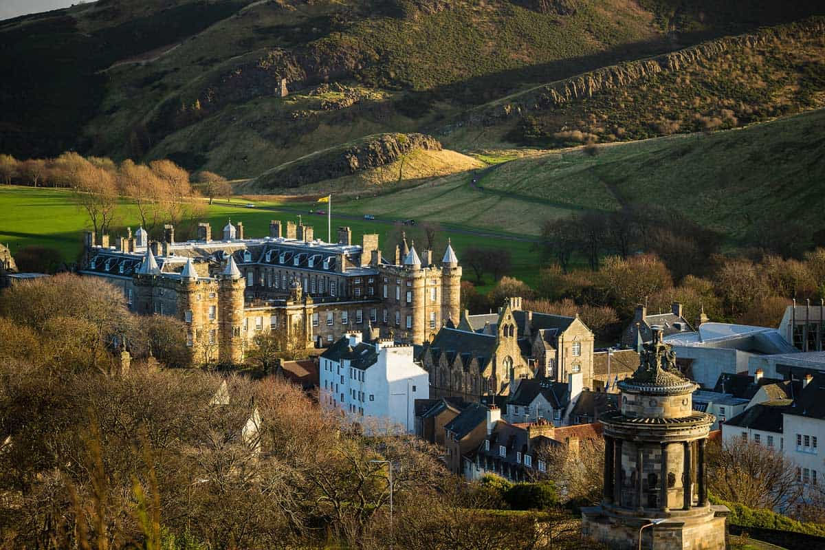 Aerial view of the royal residence in Edinburgh, Holyrood house.