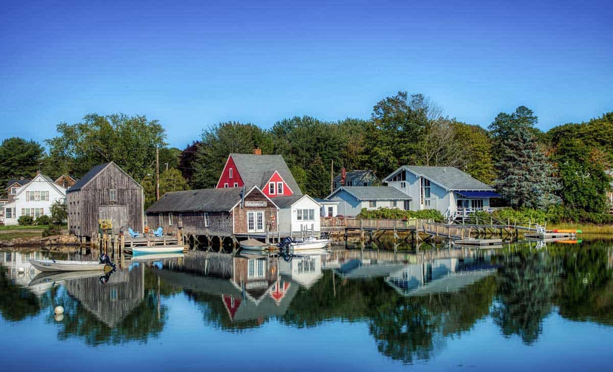 Colourful waterfront houses in Kennebunkport Maine.
