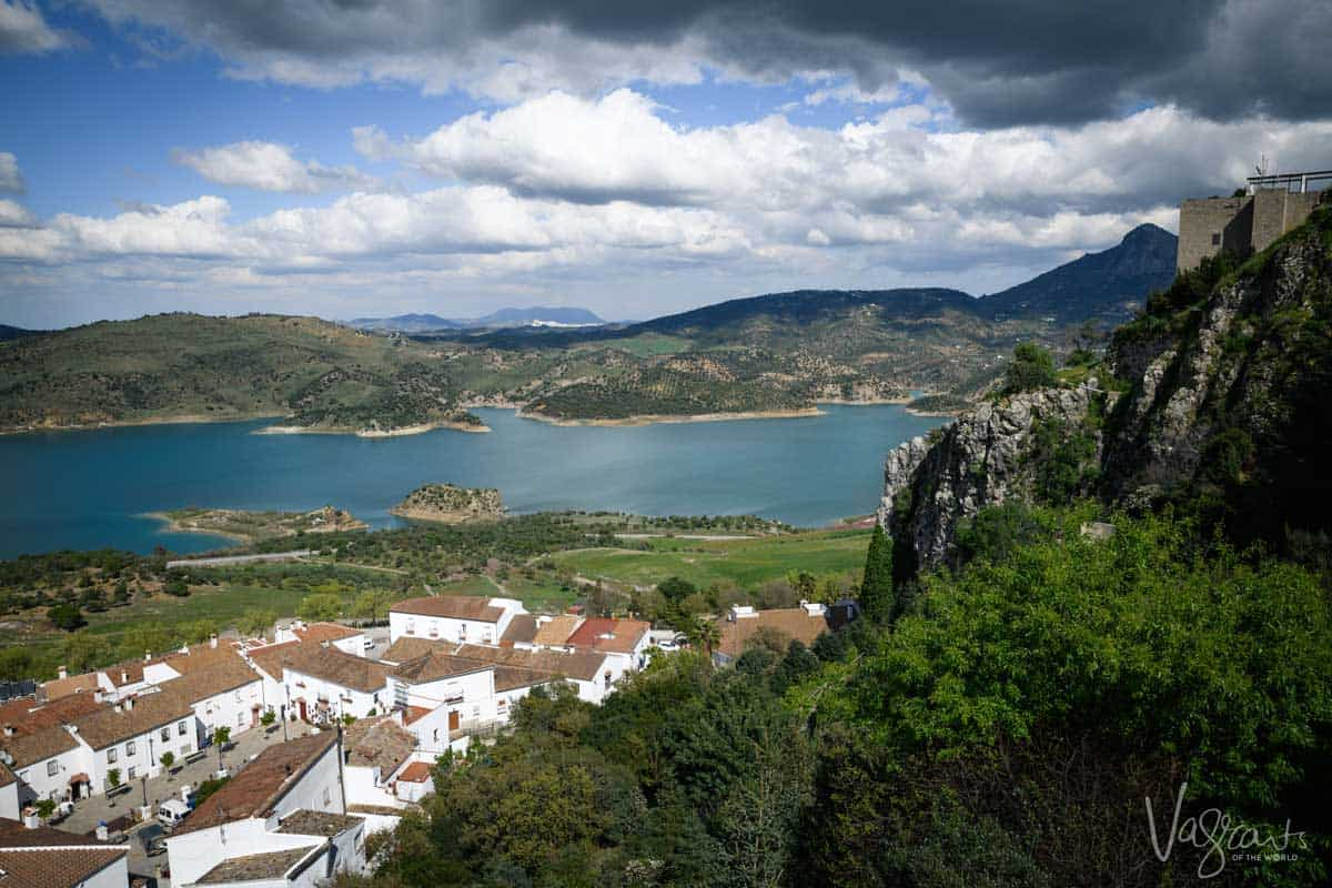 View over lake from the White Villages in Spain.