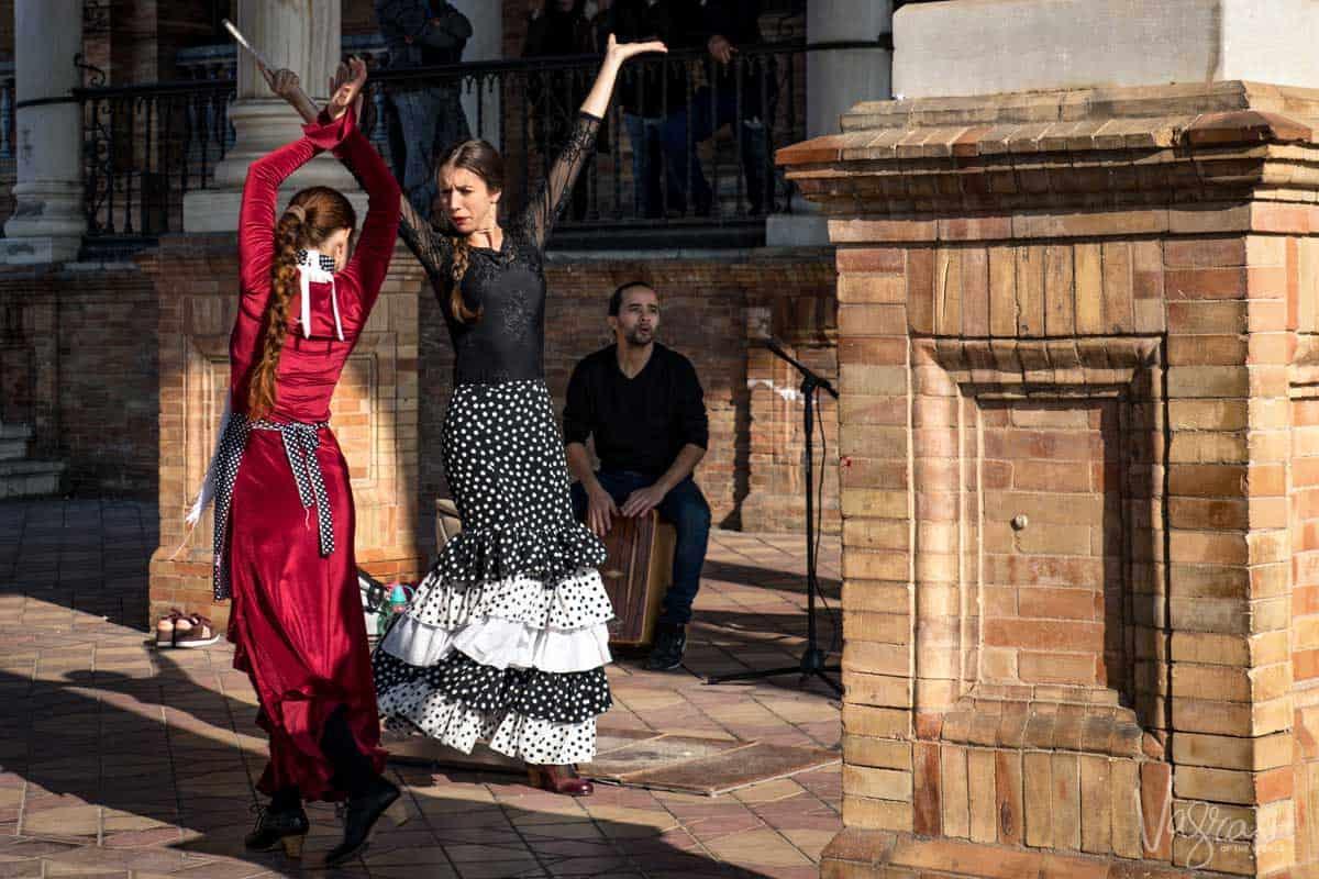 Two femal e flamenco dancers in Seville Spain.