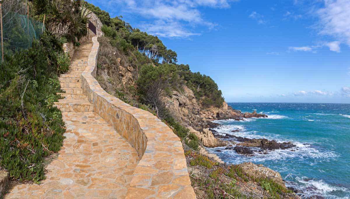 Coastal walkway on the Catalan Coast in Spain.
