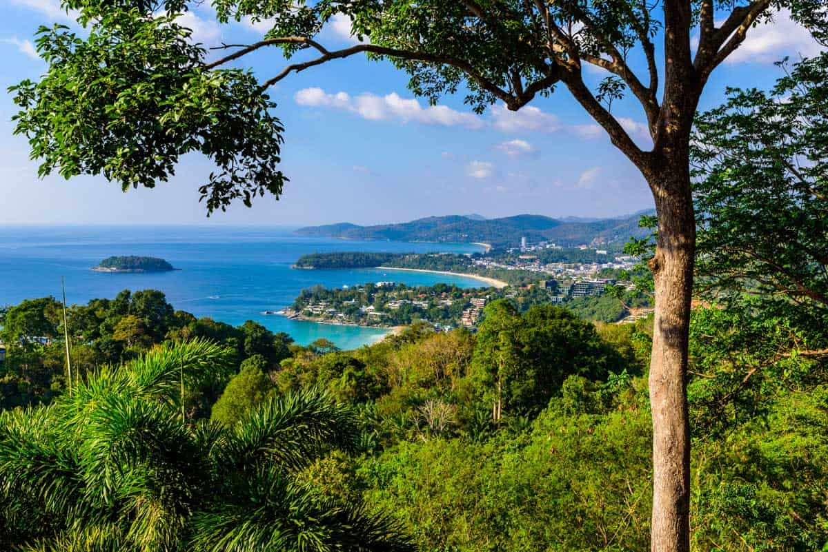 View over the beaches in Phuket from Karon view point.