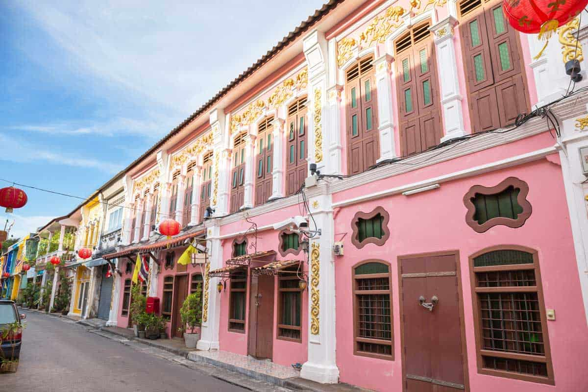 Colourful Portuguese, chinese heritage buldings in Phuket Old Town in Thailand.