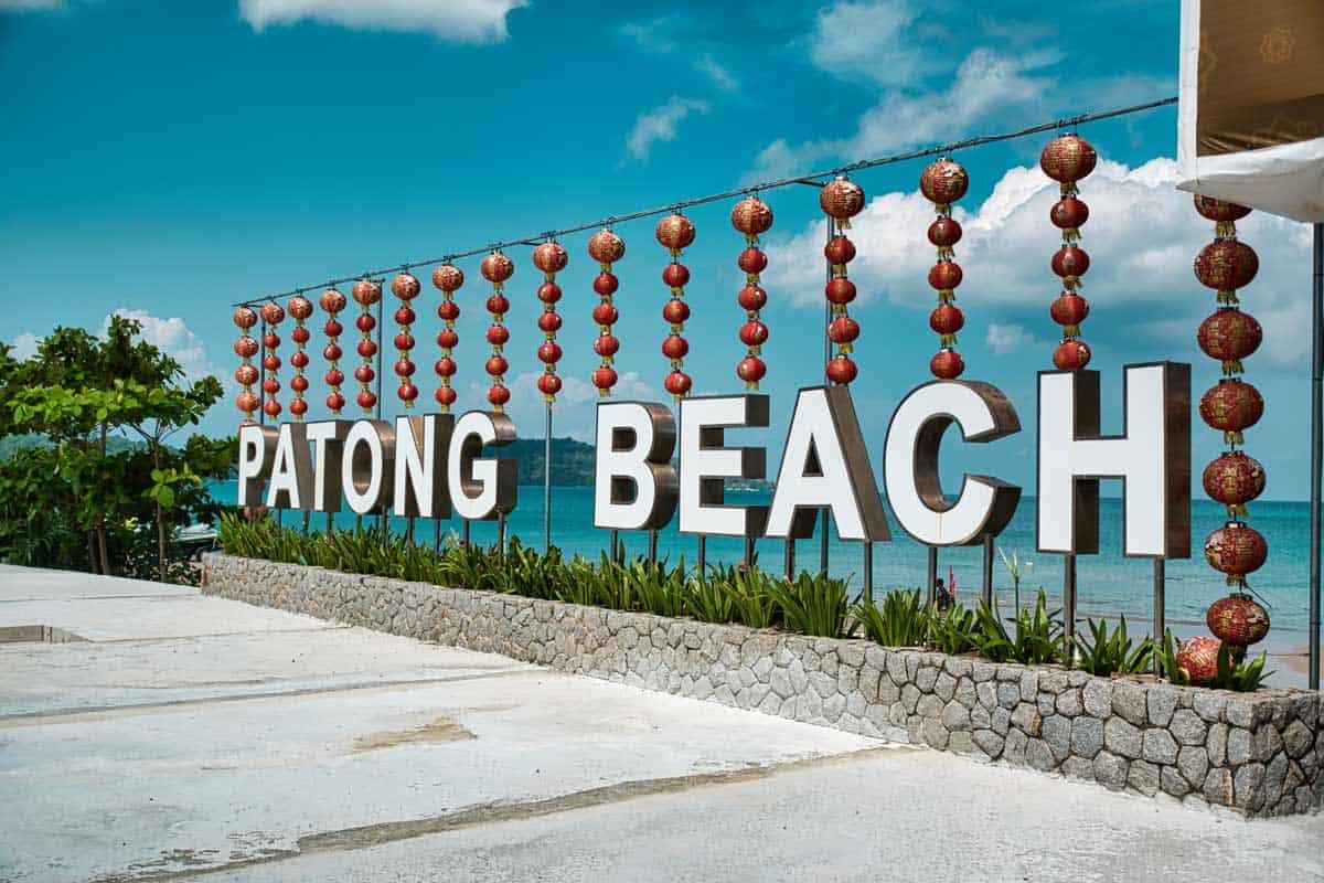 Patong Beach sign in Phuket Thailand.