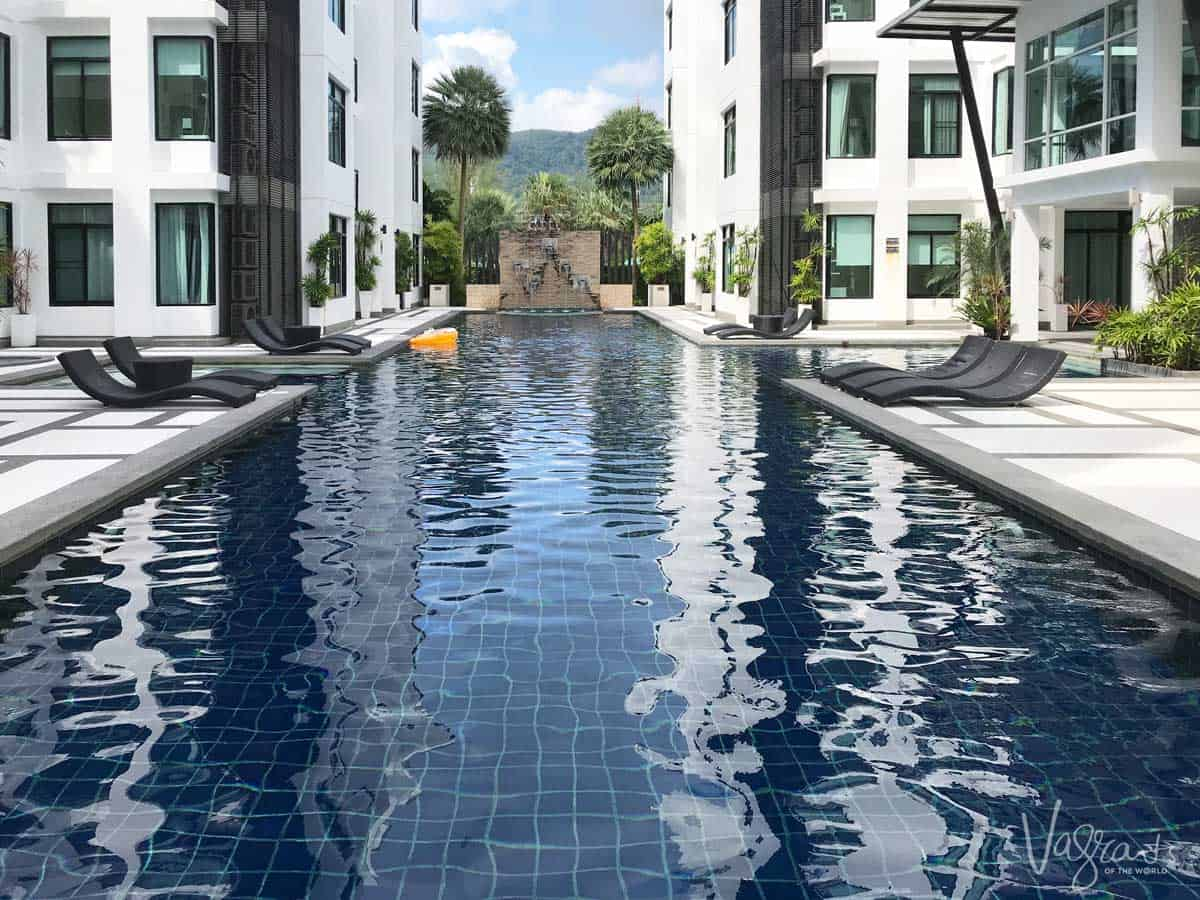 Long swimming pool in the middle of a Phuket resort.