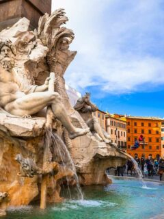 Fountains in Piazza Navona in Rome.