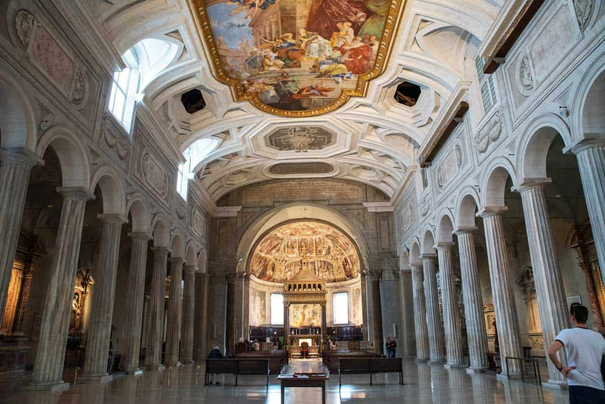 The interior of a church in Rome.