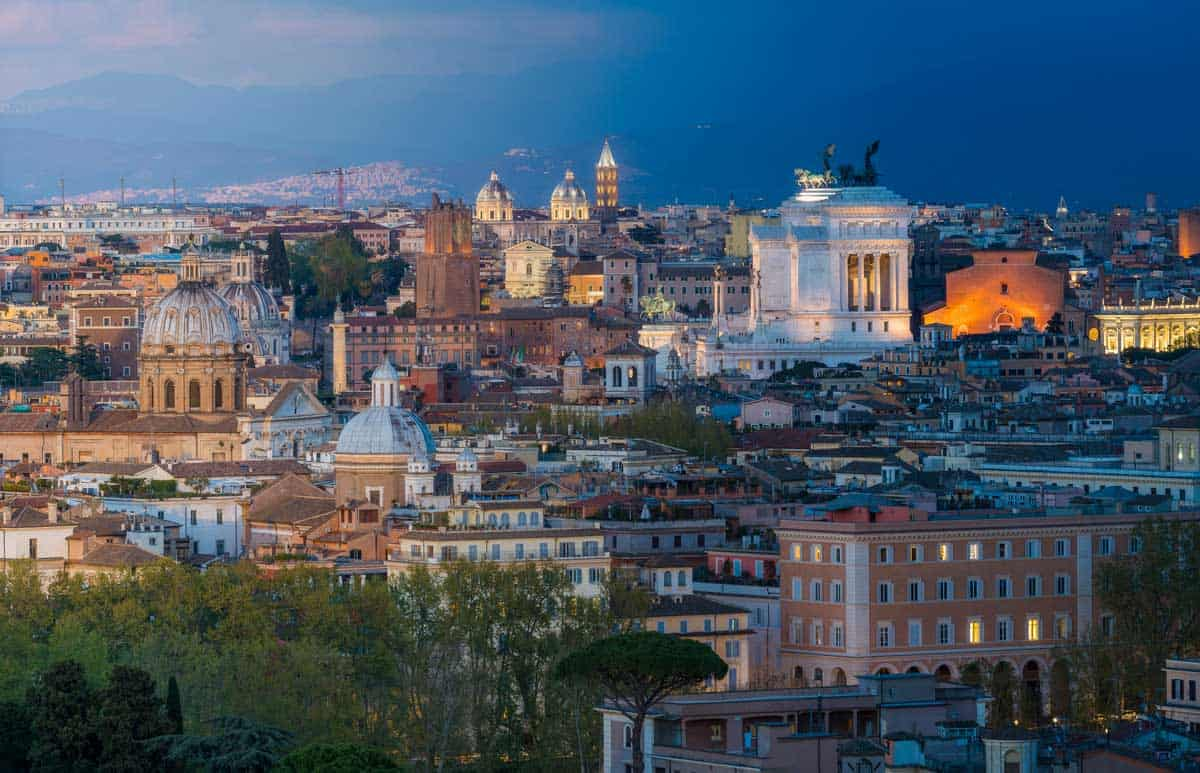 Sunset views over Rome from Gianicolo Hill.