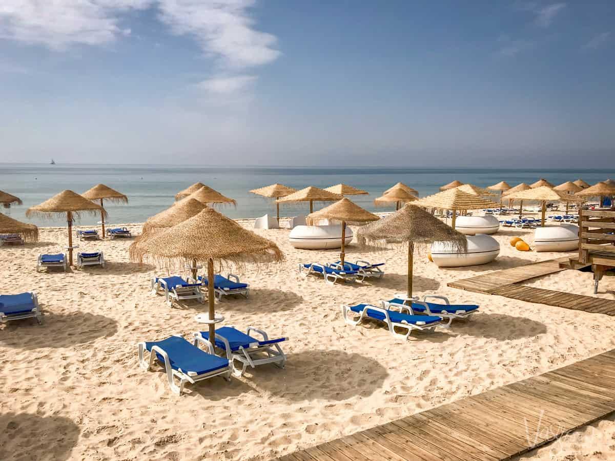 Organised beach in the Algarve Portugal.