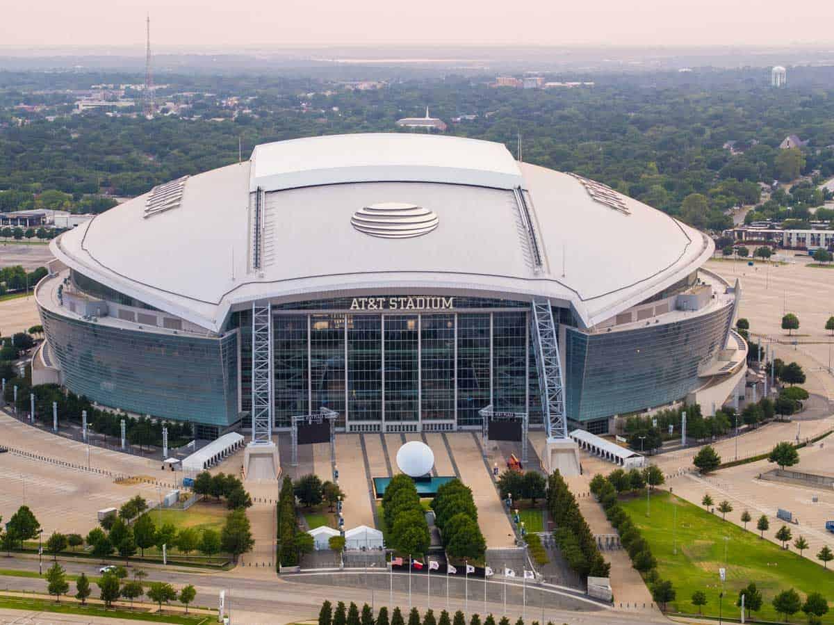 Aerial view of At&T stadium in Arlington Texas.