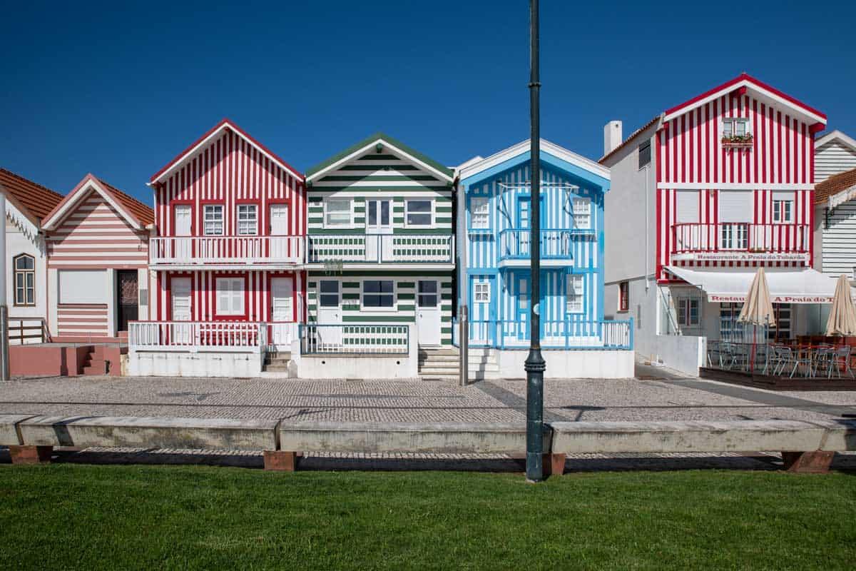 Colourful striped houses in Costa Nova Portugal.