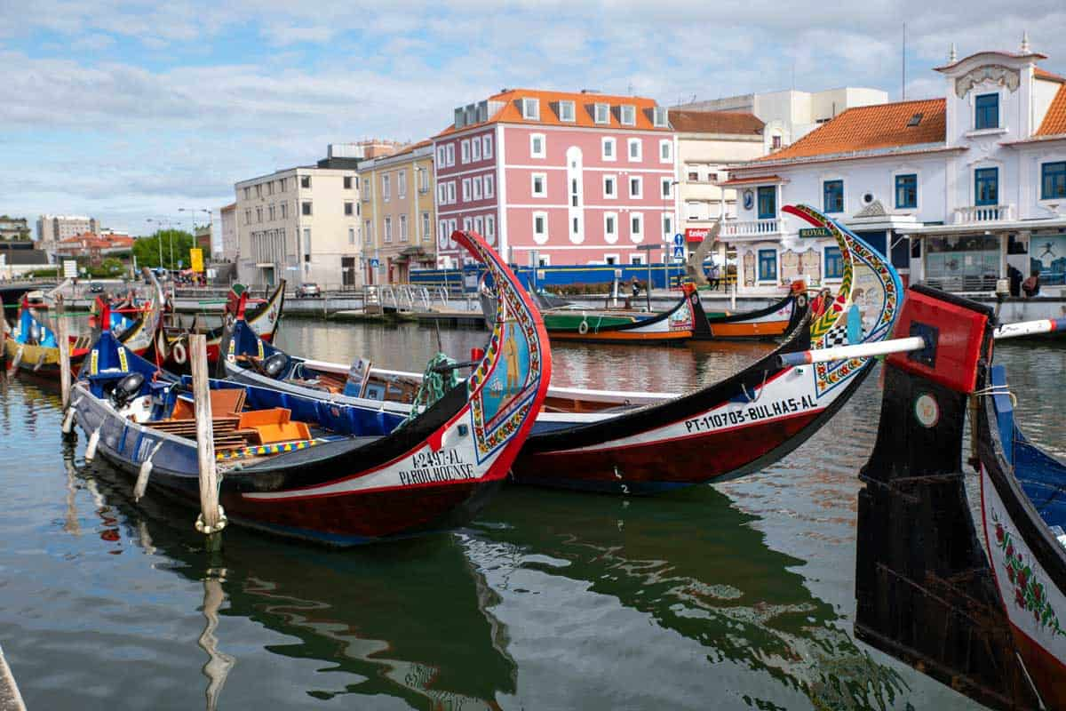 Traditional Barcos Moliceiros boats in Aveiro Portugal.