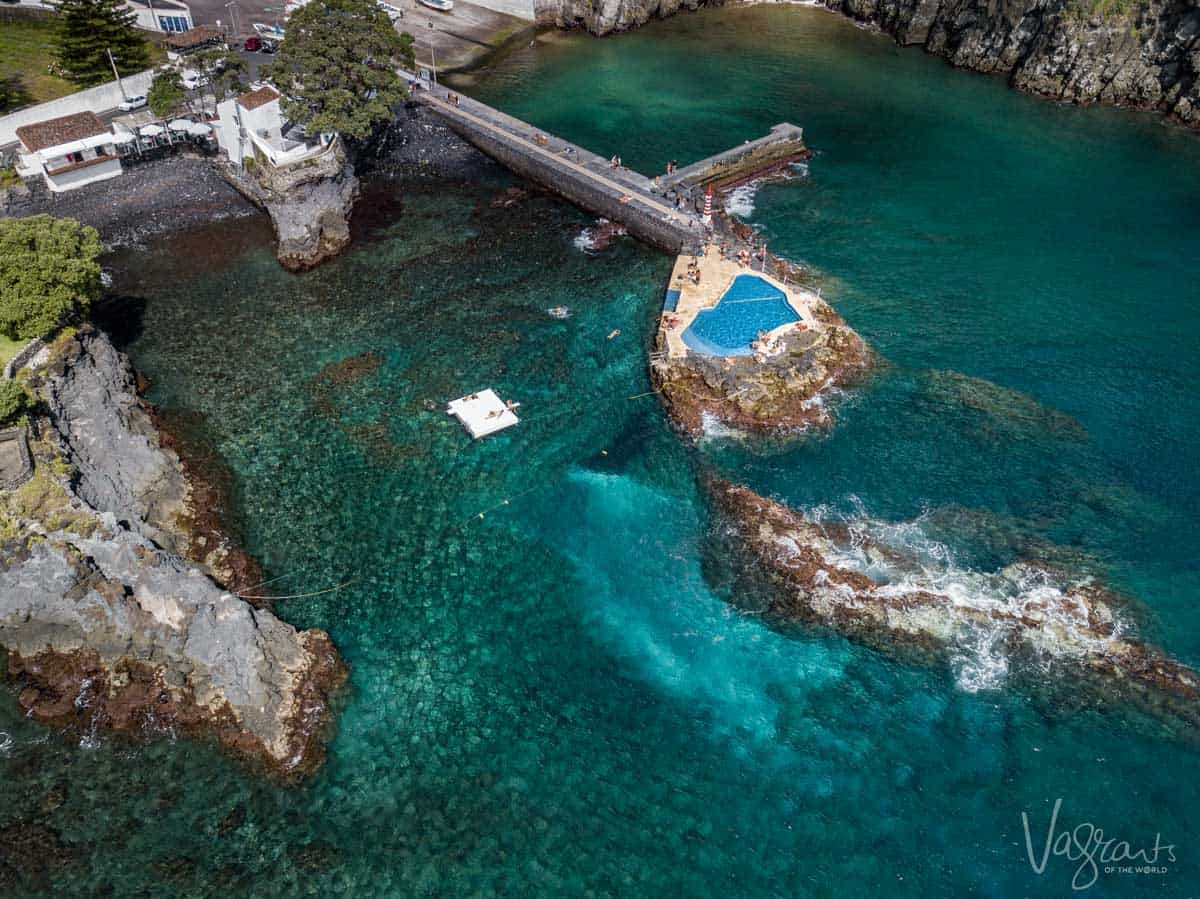 Aeial view of a sea pool in the Azores in Portugal.