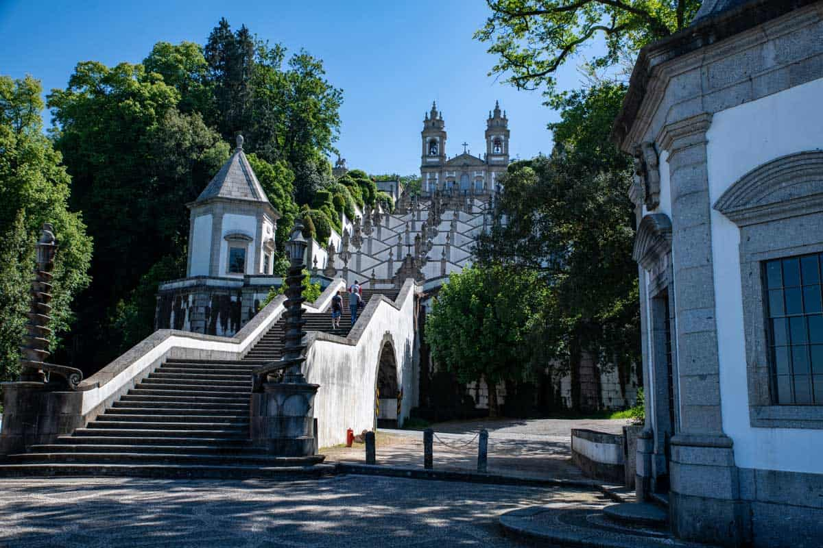 The stairs leading to the Bom Jesus do Monte monastery in Braga Portugal.