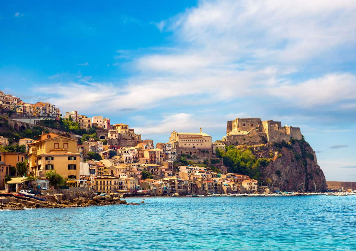 Looking over the sea towards the city and castle of Calabria in Sicily.