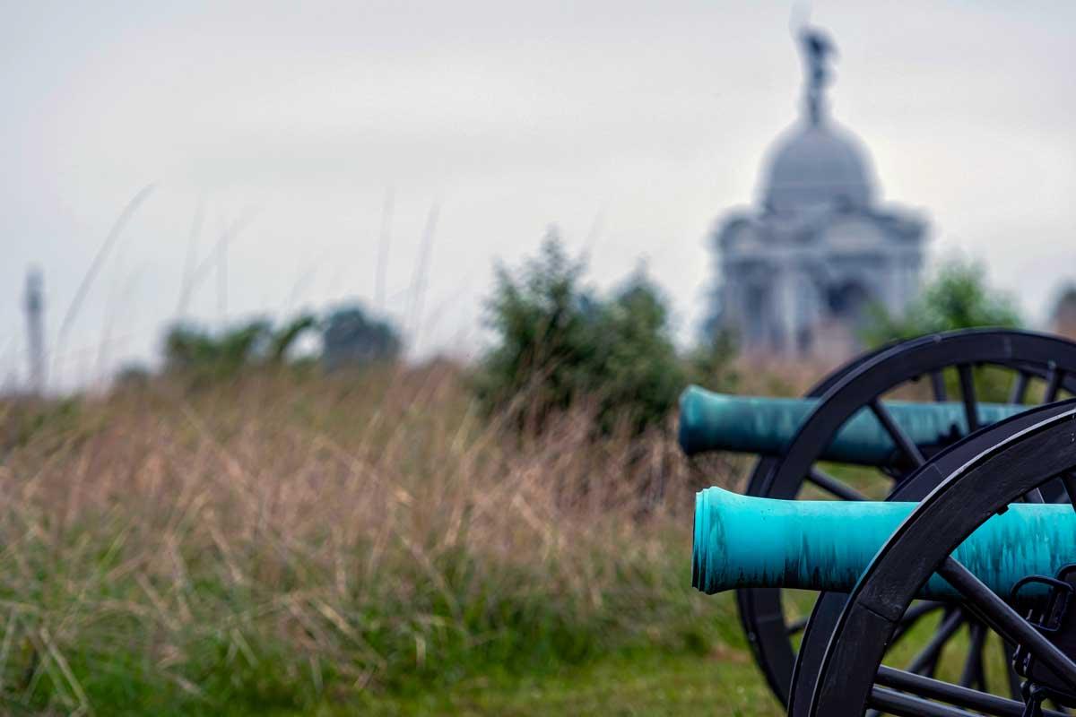 Civil war cannons in Gettysburg.