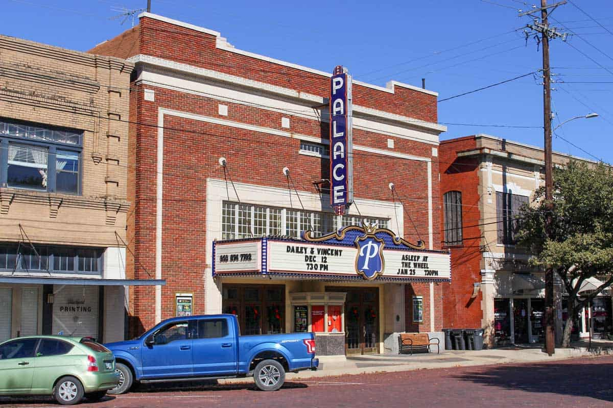 Typical old theater in the main street of Corsicana Texas.