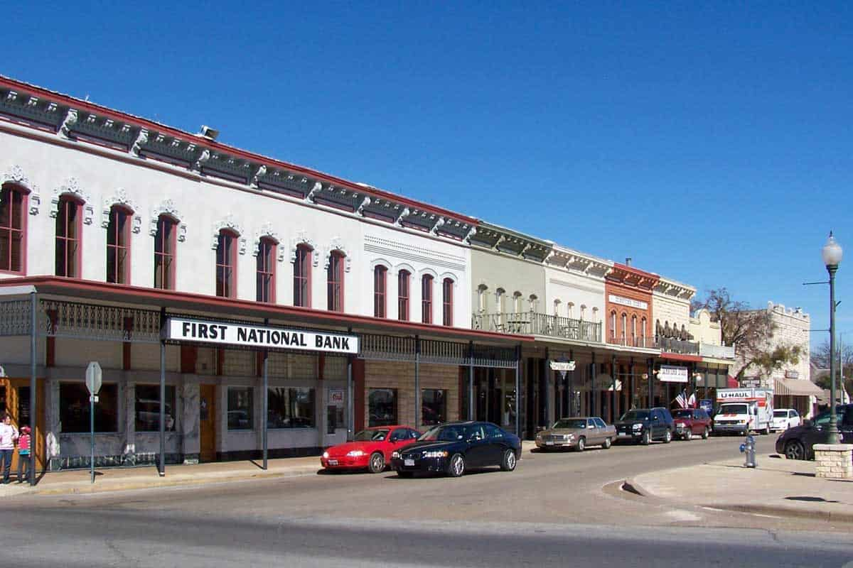 Typical country main street in the town of Granbury Texas.