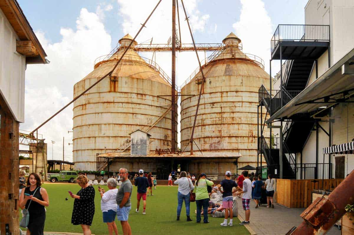 People gathered on the lawns around the Magnolia Market Silo's in Waco Texas.