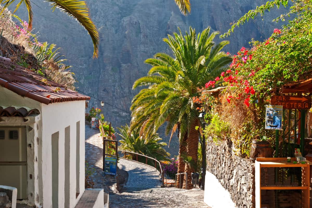 Cobble stone streets and cafe in the village of Masca in Tenerife