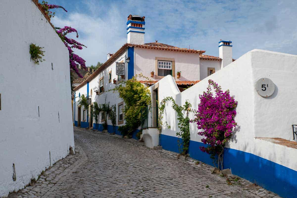 Colourful streets of the historic city of Obidos in Portugal.
