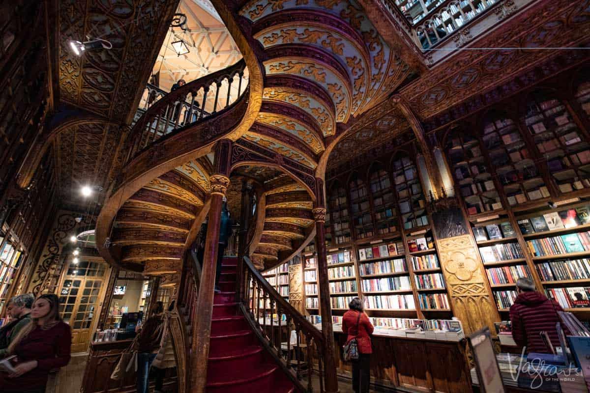 Inside the ornate Livraria Lello Bookshop in Porto Portugal.