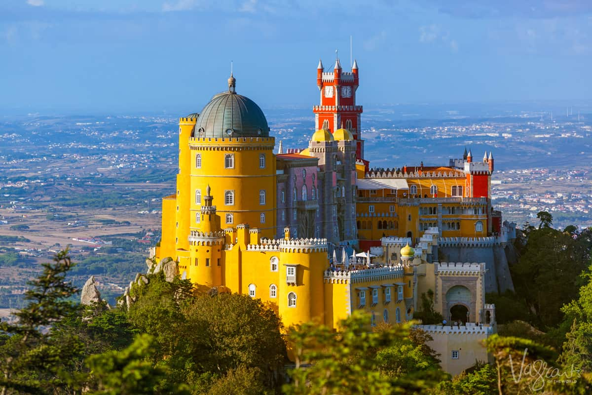 Colourful Pena Palace in Sintra Portugal.