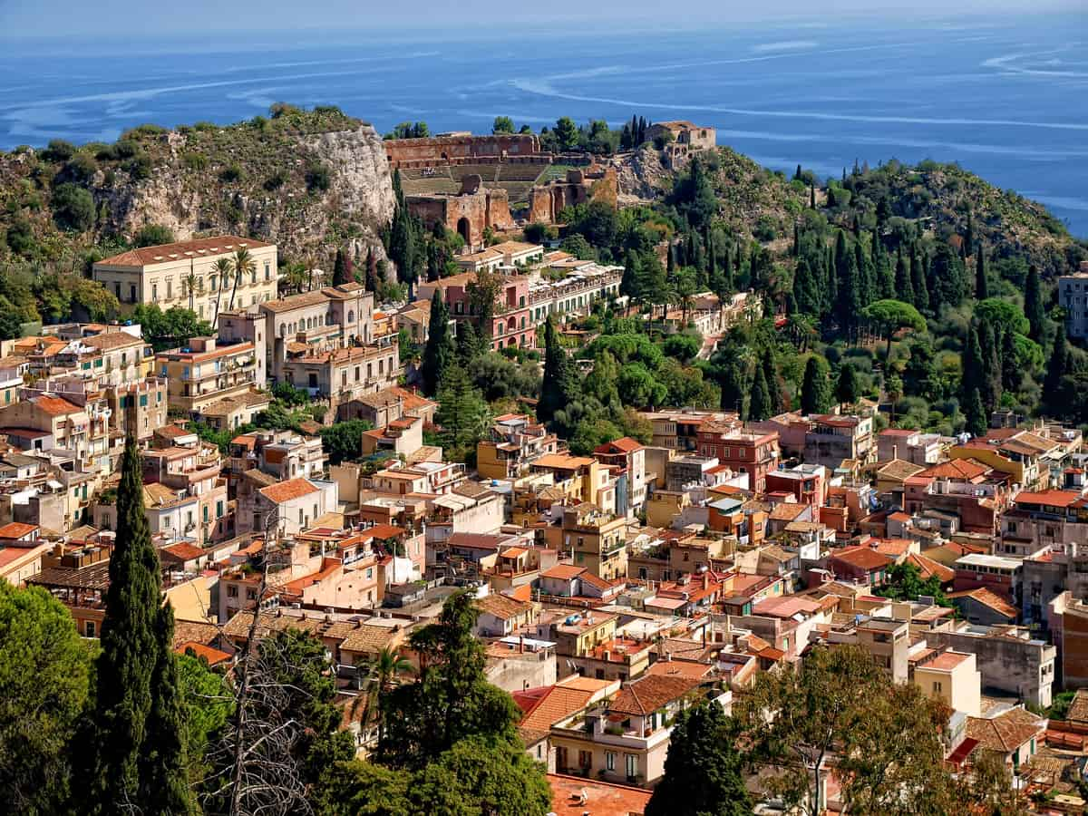 The charming hill city of Taormina in Sicily.