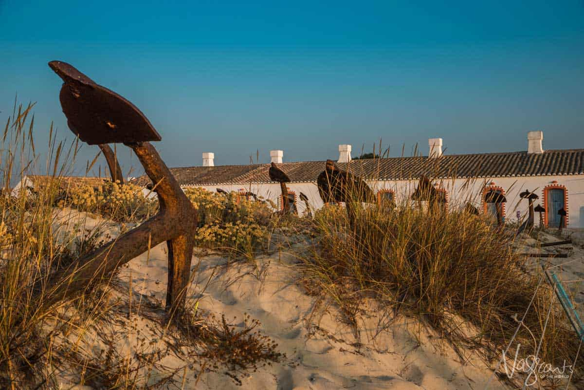 Anchor gravelyard on Barril Beach in Tavira Portugal.