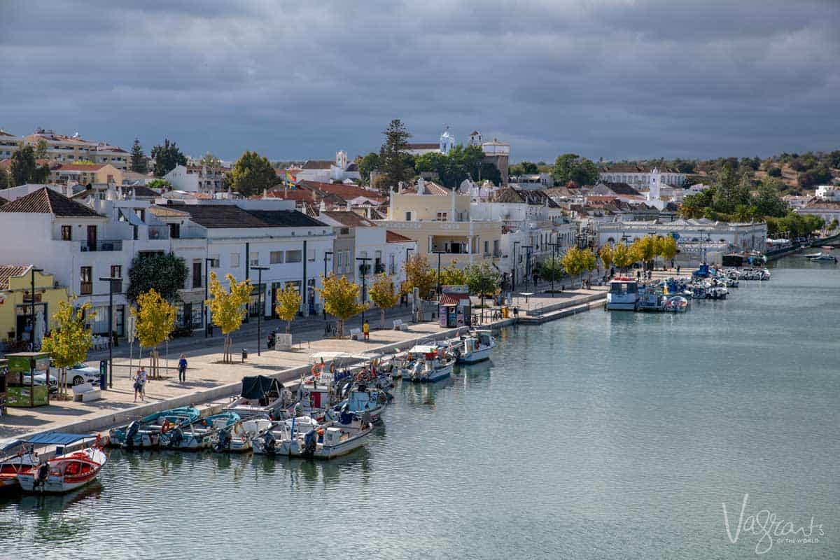 Old town Tavira and the Gilão river in the Algarve Portugal.