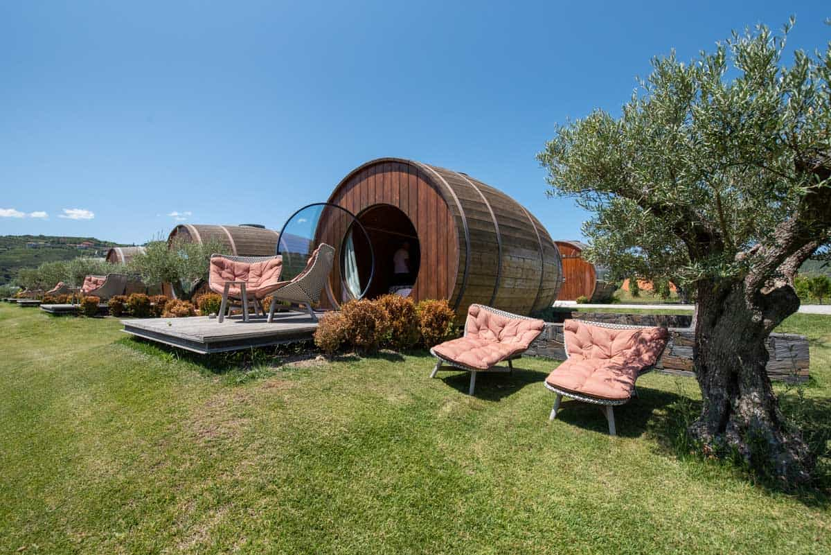 A luxury wine barrel hotel room at a winery in the Douro Valley Portugal.